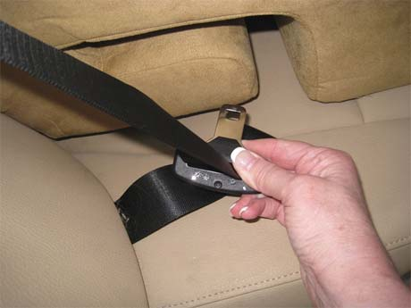 Run seatbelt through bottom of carseat